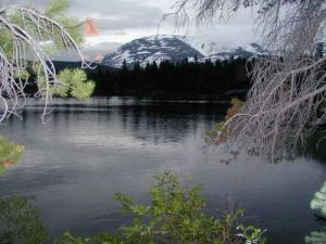<b>Bare Loon Lake</b><br> This was the view from our campsite the last night on the trail at Bare Loon Lake.