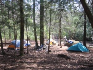 <b>Our Campsite</b><br> After a challenging hike we reached the Upper Falls Trail Campsites and pitched camp near the river. This photo was taken the next morning after we came the aid of some mountain bikers during the night.