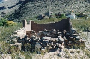"""<b>Frenchy's Cabin</b><br> The remains of Francoise """"Frenchy"""" Rochas cabin at Dog Canyon. More artifacts are in the Visitor's Center."""