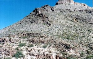 <b>The path out of the canyon.</b><br> The long trail up the canyon runs up the steep walls you see here.