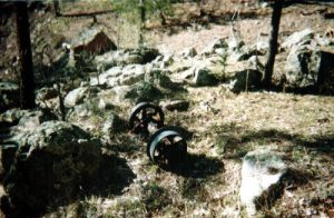 <b>Ore Car Wheel Trucks</b><br> A set of trucks from one of the mines along the way. Only the largest mines had tracks and ore cars.