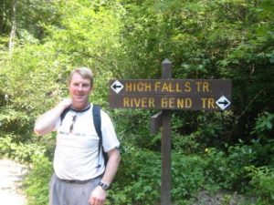 <b>High Falls Trail</b><br> Hmm, which way to go? Actually, either works. Here we are at a trail junction on the Little River.