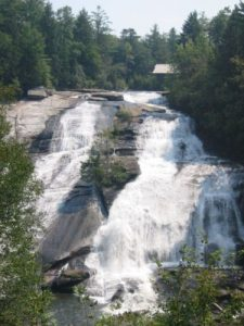 <b>High Falls</b><br> Here's High Falls from the trail. You can see the roof of the covered bridge in the top right.