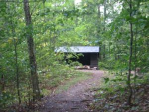 <b>Rattle River Shelter</b><br> Here's a view of Rattle River Shelter hiking northbound on the Appalachian Trail.