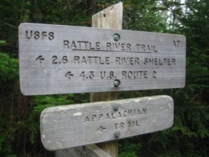 <b>Kenduskeag Trail Crossing</b><br> This sign marks the junction of the A.T. and Kenduskeag Trails after 4.3 miles of climbing to Mt. Morrah.