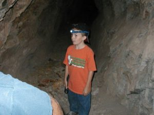 <b>Inside the Mascot Mine</b><br> Chris almost a half mile underground in an old graphite mine.