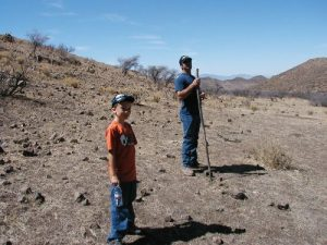 <b>And it begins.</b><br> Louis and Chris on the hillside where we saw almost 20 Javelinas.