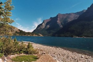 <b>St Mary Lake</b><br> Here is the view looking East on the banks of St Mary Lake.