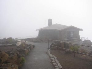 <b>Haleakala Visitor's Center</b><br> The visitor's center sits right at the edge of the crater. Too bad there were no views today.