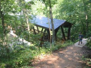 <b>Covered Bridge</b><br> The bridge is about a mile from the trailhead and provides great views of Vickery Creek.