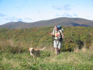 <b>Climbing Siler</b><br> Here's Simon and Black Crowe reaching the campsite about half way up the Bald.