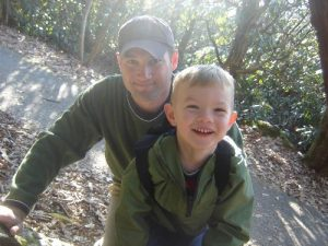 My Son and I on the hiking trail up Brasstown Bald. We climbed up a few boulders along the trail and yes, it was as fun as it looked.