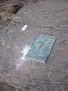 <b>The First White Blaze</b><br> Only 2174 miles from here to Mt. Katahdin, Maine.