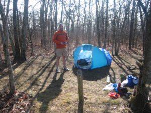 <b>Matt At Camp</b><br> Here's Matt at his campsite on Springer Mountain.