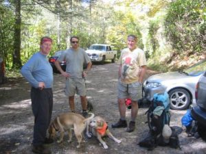 <b>Time To Hike</b><br> The Camel, Helmet and Black Crowe are packed and ready to hit the trail. The dogs ... well, they look somewhat less eager.