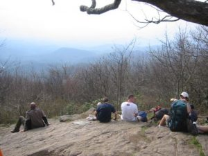 <b>Enjoying The View</b><br> Thru-hikers resting at the summit of Springer Mountain.