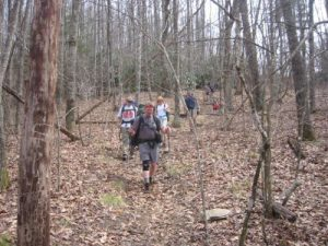 <b>The Descent To Panthertown Valley</b><br> Hiking down to the Sandbar Pool from Cold Mountain Gap.