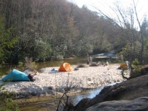 <b>Camping At The Sandbar Pool</b><br> The Sandbar Pool as seen from the main corridor trail.