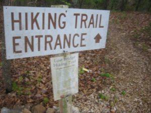 <b>The Lost Bridge Hiking Trail</b><br> A trailhead marker near the parking area for The Lost Bridge Hiking Trail at Beaver Lake.