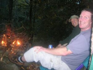 <b>Enjoying A Cold One</b><br> Now the work is done. Enjoying a cold one by the campfire.