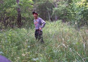 <b>Chunky Gal Trail in July of 2006</b><br> A bit overgrown - you can see the blue blaze on the tree behind me.