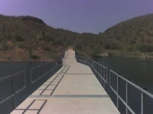 <b>The Floating Bridge</b><br> This is the floating bridge which traverses an arm of Lake Pleasant. I saw a few bass and a large turtle in this area during the hike.