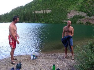 <b>No Name Lake</b><br> This picture was taken at No Name Lake, the site of our first backcountry campground. Sasquatch One and Sasquatch Two go for a frigid dip.