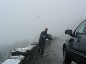 <b>A Snowy Start</b><br> It snowed for the biggest part of the morning on this Labor Day day hike. We stopped on our way up to the Logan Pass Visitor Center to have a snowball fight.