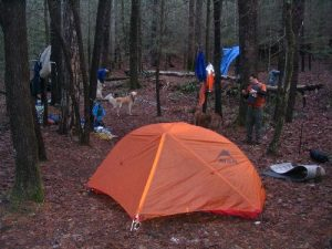 <b>Our Campsite</b><br> We pitched camp along the Chattoga River trail where it meets up with the Foothills Trail.