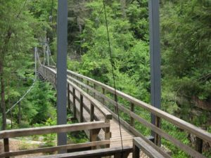 <b>Suspension Bridge</b><br> There's an impressive suspension bridge spanning the Gorge on the decent to the river.