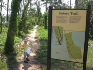 <b>Heading Out</b><br> The start of the Brackenridge Nature Trail just outside of the visitor's center.
