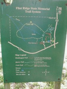 <b>Trailhead Map</b><br> This is a map near the picnic area that shows the trails in the park.