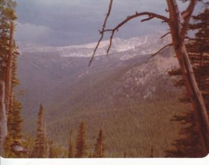<b>LaMarche Canyon from Cutaway Pass</b><br> From Continental Divide National Scenic Trail -- that is a real powerful thunderstorm on its way.