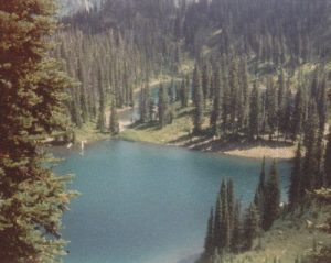 <b>Twin Lakes</b><br> The trail passes above Twin Lakes.