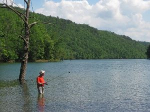 <b>Fishing At Fontana Lake</b><br> Casting a few lines in to Fontana Lake just down the road from Campsite #74.