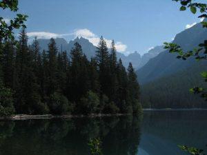 <b>Bowman Lake</b><br> Upper end of Bowman Lake just before the trail begins climbing.