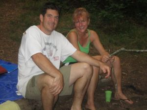 <b>Relaxing by the fire at Gooch Gap shelter</b>
