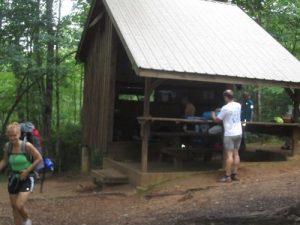 <b>Shelter at Gooch Gap. My wife and Triathlon John</b>